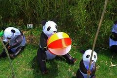 Missouri Botanical Gardens panda bear lanterns. Chinese inspired giant panda bear figures and symbols as giant lanterns set amidst the Missouri Botanical Gardens Royalty Free Stock Photography