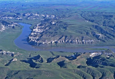 Missouri Breaks in Montana. Aerial view of the Missouri River Breaks in Montana Stock Photos