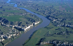 Missouri Breaks in Montana. Aerial view of the Missouri River Breaks in Montana Royalty Free Stock Image