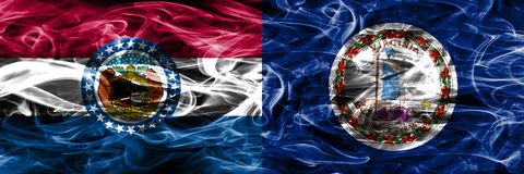 Missouri contra las banderas coloridas del humo del concepto de Virginia colocadas de lado a lado foto de archivo libre de regalías