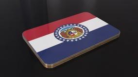 Missouri 3D glossy flag object isolated on black background. stock illustration