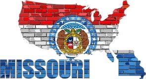 Missouri en una pared de ladrillo Foto de archivo libre de regalías