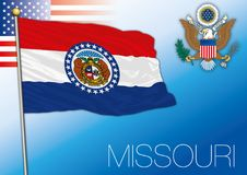Missouri federal state flag, United States. Vector illustration and us coat of arms Stock Image