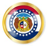 Missouri Flag Button. Missouri state flag button with a gold metal circular border over a white background Stock Photography