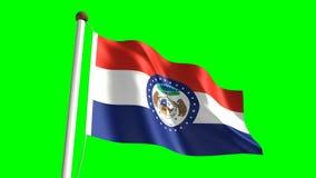 Missouri flag. Seamless  green screen stock video footage