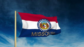 Missouri flag slider style with title. Waving in stock video