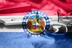 Missouri flag U.S. state Gun Control USA. United States. Gun Laws Stock Image
