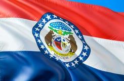 Missouri flagga 3D som vinkar design för USA tillståndsflagga MedborgareUSA-symbolet av den Missouri staten, tolkning 3D Nationel fotografering för bildbyråer