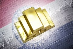 Missouri gold reserves. Shining golden bullions lie on a missouri state flag background Stock Photo