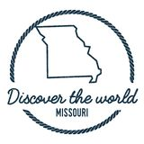 Missouri Map Outline. Vintage Discover the World. Missouri Map Outline. Vintage Discover the World Rubber Stamp with Missouri Map. Hipster Style Nautical Rubber vector illustration