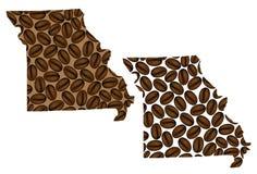 Missouri - mapa kawowa fasola Fotografia Royalty Free