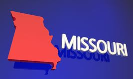 Missouri MO Red State Map Name Arkivfoto