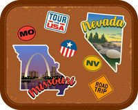 Missouri, Nevada travel stickers with scenic attractions. And retro text on vintage suitcase background Stock Image