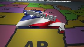 Missouri pull out from USA states abbreviations map. State Missouri pull out from USA map with american flag on background. A map of the US showing the two stock video footage