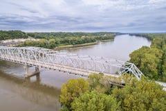 Missouri River bridge aerial view Royalty Free Stock Photos