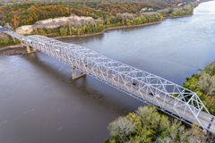 Missouri River bridge aerial view Stock Image
