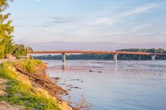Missouri River and bridge at Hermann Royalty Free Stock Photo