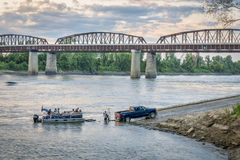 Missouri River and motor boat at a ramp Royalty Free Stock Images