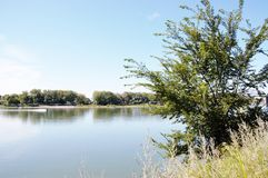 Missouri river in north dakota. There is nice place nearby capital of North Dakota Bismarck ,where  Missouri river and nature around well known  for recreation Royalty Free Stock Photo