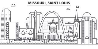 Missouri, Saint Louis architecture line skyline illustration. Linear vector cityscape with famous landmarks, city sights. Design icons. Editable strokes Royalty Free Stock Photography