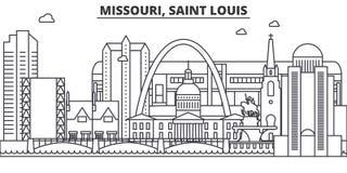 Missouri Saint Louisarkitekturlinje horisontillustration Linjär vektorcityscape med berömda gränsmärken, stad siktar royaltyfri illustrationer