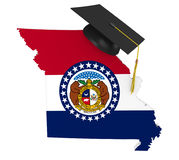 Missouri state college and university education concept, 3D rendering. Missouri education concept of a 3D state map icon and a university graduate mortarboard Stock Photography
