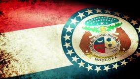 Missouri State Flag Waving, grunge look stock video