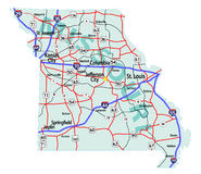 Missouri State Interstate Map Royalty Free Stock Photos