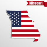 Missouri State map with US flag inside and ribbon Stock Photos