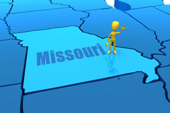 Missouri state outline with yellow stick figure Royalty Free Stock Photo