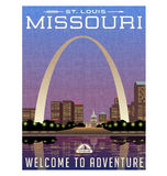 Missouri, United States travel poster or luggage sticker Stock Photography