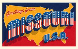 Free Missouri USA. Retro Style Postcard With Patriotic Stars And Stripes Lettering Royalty Free Stock Photography - 183818427