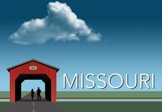 Missouri uwypukla w ten wiejskim o temacie plakacie Czerwień zakrywający most, niebieskie niebo, strumień i mieszkanie obszar tra royalty ilustracja