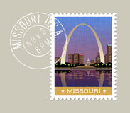 Missouri vector illustration of Gateway Arch and St. Louis. Missouri postage stamp design. Vector illustration of Gateway Arch and downtown St. Louis. Grunge Stock Image