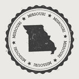 Missouri vector sticker. Hipster round rubber stamp with US state map. Vintage passport stamp with circular Missouri text and stars, USA map vector Royalty Free Stock Photo