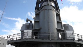 Missouri warship radiotower. HONOLULU, OAHU, HAWAII, UNITED STATES - AUGUST 21, 2016:Radio and radar tower of the warship Missouri at Pearl Harbor in Honolulu stock video