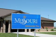 Missouri Welcome Sign. Located a rest area in the state of Missouri Stock Photography