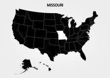missouri Zustände von Amerika-Gebiet auf grauem Hintergrund Unterschiedlicher Zustand Auch im corel abgehobenen Betrag stock abbildung
