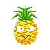 Misstrauisches Ananasgesicht Nette Karikatur emoji Charakter-Vektor Illustration Lizenzfreie Stockfotos