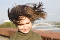 Missy in the wind. Portrait of missy in the wind Royalty Free Stock Images
