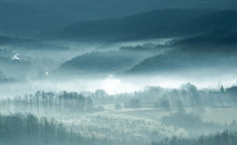 Mist. Autumn  landscape mist morn mountain Stock Photos