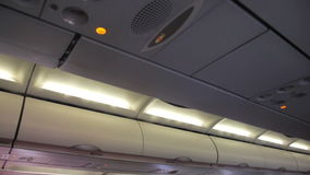 Mist from the air conditioner in the aircraft cabin stock video