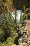 MIst at the bottom of Upper Falls of the Yellowstone River. Stock Images