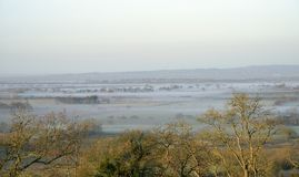 Mist in Butleigh Moor. Viewed from Polden Hills, Somerset Levels Royalty Free Stock Photography