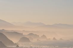 Mist on the cliffs. Fog on the cliffs of the coast of Asturias, Spain Royalty Free Stock Image