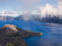 Mist and clouds at Crater Lake Royalty Free Stock Images