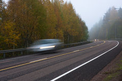 Mist on country road Royalty Free Stock Photo