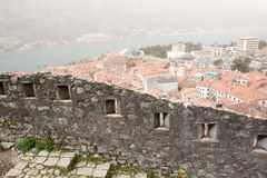 Mist Covered Walled Kotor Stock Photography
