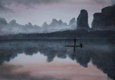 Mist door de rivier en het hooggebergte Royalty-vrije Stock Foto