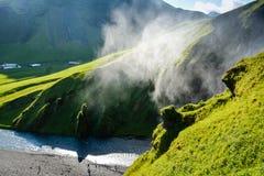 Mist of famous Skogafoss Waterfall, Iceland, Stock Photos